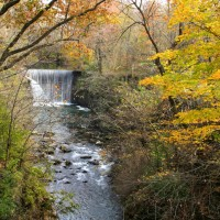 Cedar Cliff Falls In Autumn, A Beautiful Water Fall On The Little Miami River At Cedarville Near Clifton Gorge, Southwestern Ohio, USA