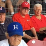 Back row, Merrill, Stan, Hope and Annabelle ready for the first pitch!